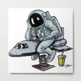 Astronaut  Playground Chilling Metal Print