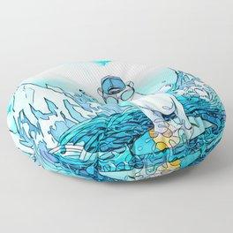 Polar bear on the surf board Floor Pillow
