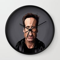 celebrity Wall Clocks featuring Celebrity Sunday ~ David Duchovny by rob art | illustration