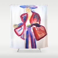 1984 Shower Curtains featuring Harper's Bazaar 1984 by amargarcia