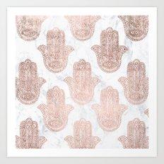 Modern rose gold floral lace hamsa hands white marble illustration pattern Art Print