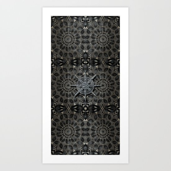 Silver and black Deco Art Print