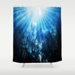 There Is Hope In the Light : Black Trees Blue Space Shower Curtain