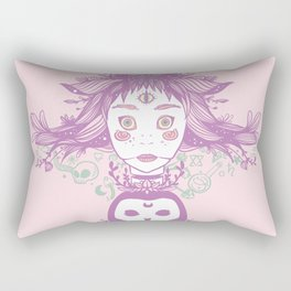 Witch, Third Eye, Moon Phases, And Owl Rectangular Pillow