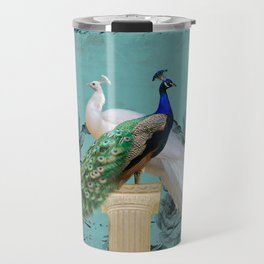 Blue Peacock and White Peacock Pair Teal Photo Art A032 Travel Mug