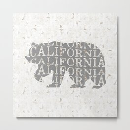 California Bear Print, California Bear Art, California Wall Art, California Art, California Print Metal Print