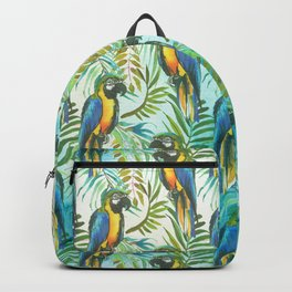 Watercolor blue yellow tropical parrot bird floral Backpack