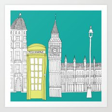 London - City prints // Red Telephone Box Art Print