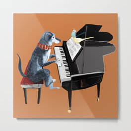 Piano lesson with Angel Metal Print