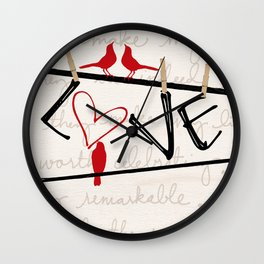 Love Letters Red Bird Clothesline A713 Wall Clock
