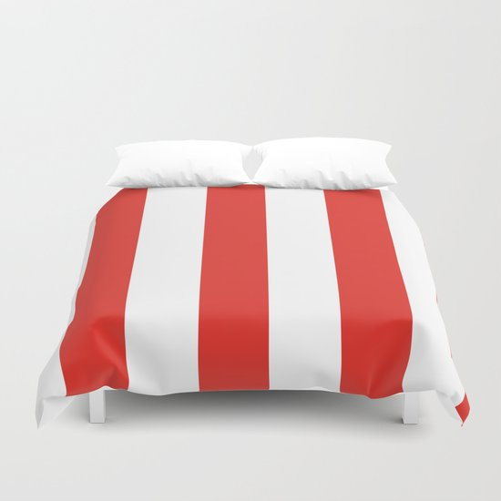 rayures blanches et rouges 7 Duvet Cover