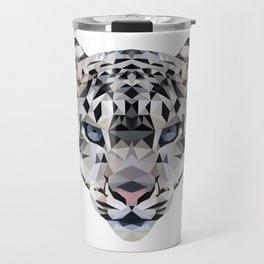 Low poly snow leopard Travel Mug