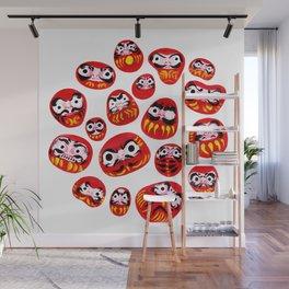 Japanese Daruma Characters Wall Mural