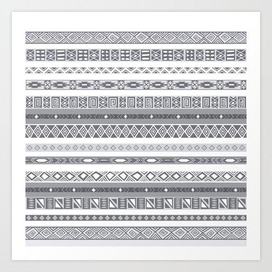 Silver Black & White Aztec Pattern Art Print