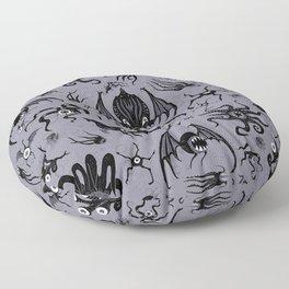 Cosmic Horror Critters in Twilight Zone Glow Floor Pillow