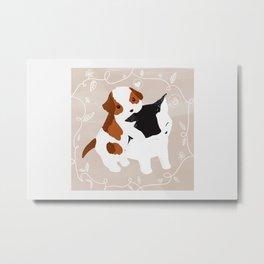 Puppy Cat Relationship Metal Print