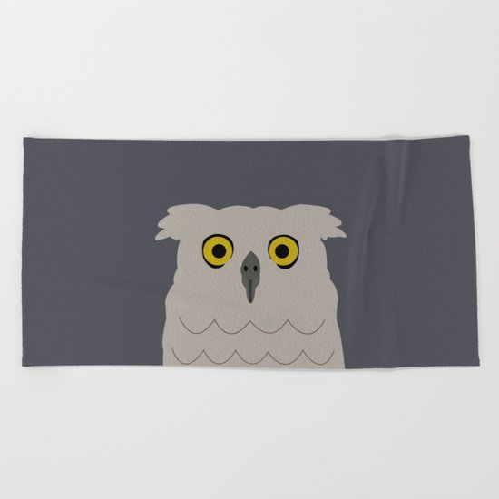 Wide Eyed Owl Beach Towel