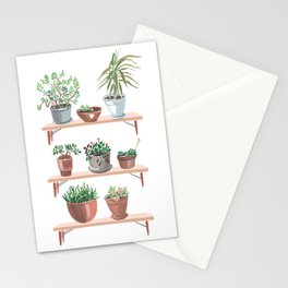 flowerpots on the shelves Stationery Cards