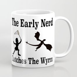 The Early Nerd Catches The Wyrm Silhouette Coffee Mug
