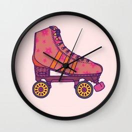 Pink  Rollerskate Wall Clock