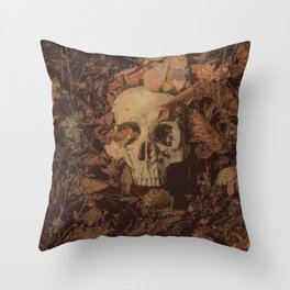 Catacomb Culture - Human Skull Forest Throw Pillow