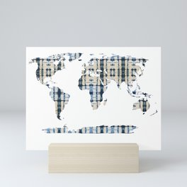 Shibori Map of World 6 Mini Art Print