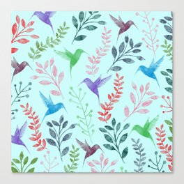 Watercolor Floral & Birds III Canvas Print