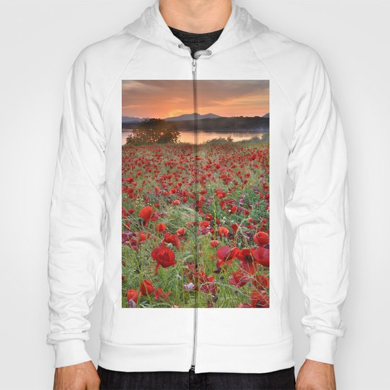 Poppies at the lake at sunset Hoody