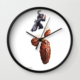 Fritter Jitsu the Deadly Art of Throwing Fruity Pastries Wall Clock