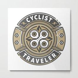 Cyclist Traveler Metal Print