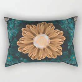 Beautiful Paradise Chrysanthemum of Orange & Aqua Rectangular Pillow
