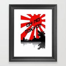 Godzilla - Oh No Tokyo Framed Art Print