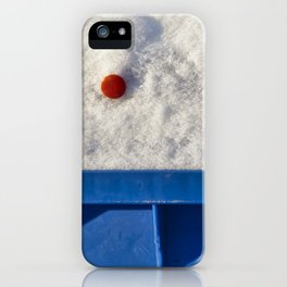 Red Button In White Snow On Blue Container iPhone Case