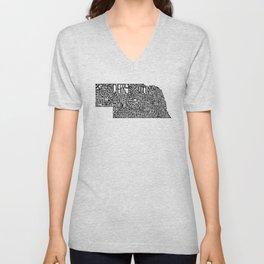 Typographic Nebraska Unisex V-Neck