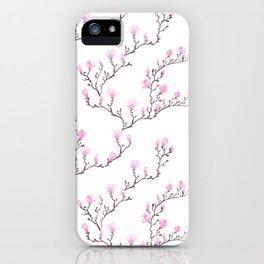 Pink watercolor magnolia pattern iPhone Case