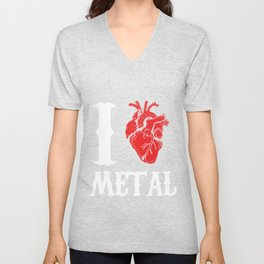 I Love Metal Music Rock And Roll Punk  Unisex V-Neck