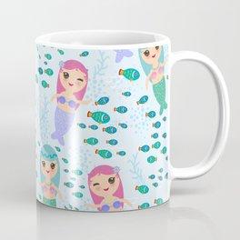 Mermaid with blue and pink hair cute kawaii girl Coffee Mug