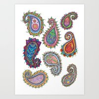 paisley Art Prints featuring Paisley by WelshPixie