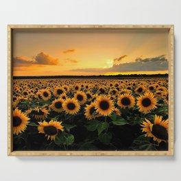 Sunflower field Serving Tray