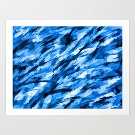 Blue Designer Camo Art Print
