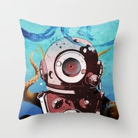 diver Throw Pillows featuring Diver by Tony Vazquez