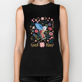 Folk Art Inspired Hummingbird In A Burst Of Springtime Blossoms Biker Tank