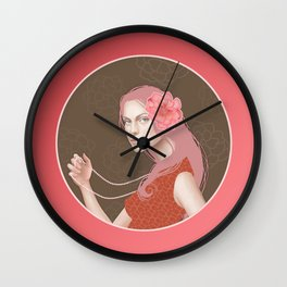 Girl Holding a Pearl Necklace Wall Clock