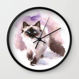 Watercolor Siamese Cat Wall Clock