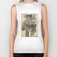 saxophone Biker Tanks featuring Space Cat with Saxophone by Felis Simha