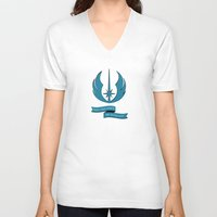 jedi V-neck T-shirts featuring Jedi Blueprints by Travis English