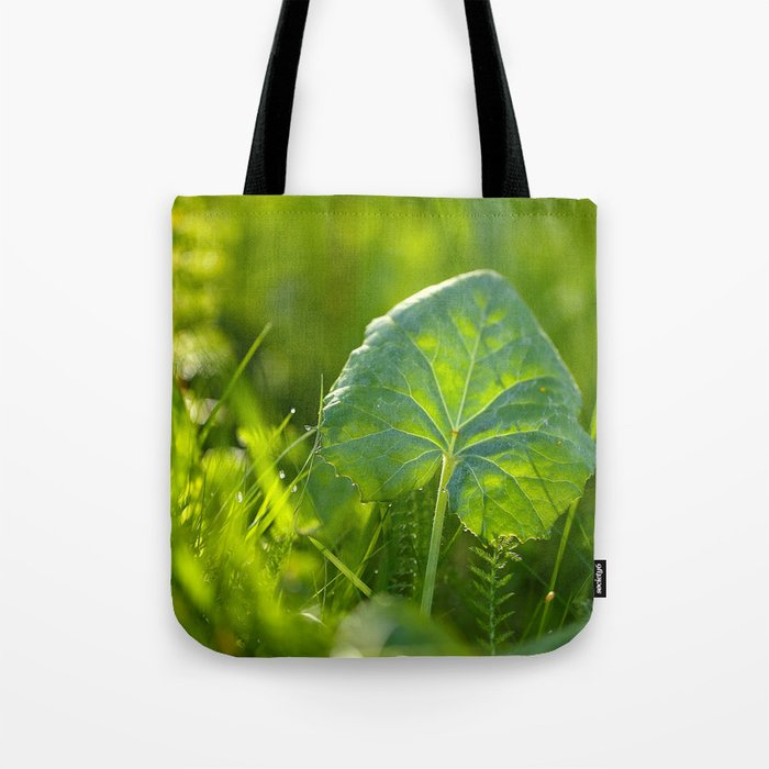 Large Green Leaf On A Sunny Background decor #society6 #homeart Tote Bag