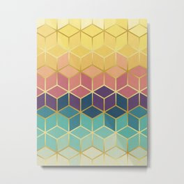 Colorful squares with gold I Metal Print