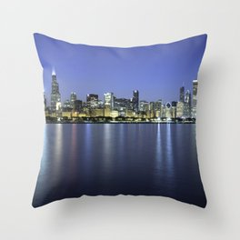 Chicago Skyline Dusk Panorama Throw Pillow