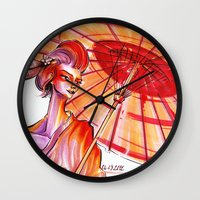 japanese Wall Clocks featuring Japanese by Cemile Demir Uzunoglu